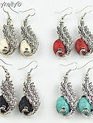 Toonykelly® Vintage Look Antique Silver Multi-stone Peacock Dangle Earring(1Pair)
