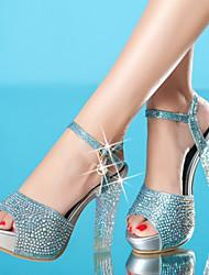 Sandales ( Simili Cuir , Bleu/Or/Argent ) Talon aiguille - 6-9cm pour Chaussures femme