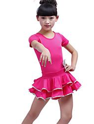 Latin Dance Performance Dresses Children's Fashion Short Sleeve Polyester Dress Black/Fuchsia Kids Dance Costumes