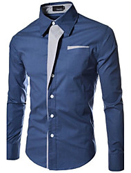 Number One Men's Shirt Collar Casual Shirts , Cotton Blend Long Sleeve Casual Pocket Winter