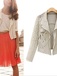 Sera Women's Lace White Coats & Jackets , Bodycon / Casual Tailored Collar Long Sleeve