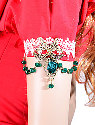 Fashion Green Rose Crystal Bead Lace Bracelet