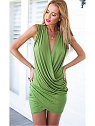 Q.S.H Women's Vintage/Sexy/Bodycon/Beach/Party V-Neck Sleeveless Dresses (Spandex)