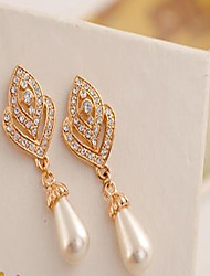Drop Earrings Pearl Imitation Pearl Cubic Zirconia Rhinestone Alloy Heart Screen Color Jewelry 2pcs