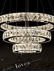 Modern LED Chandelier Lights Lighting Warm White Three Rings D305070 K9 Large Crystal Hotel Ceiling Light Fixtures