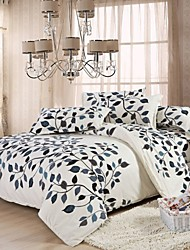 Mingjie Leaves White Bedding Sets 4pcs Duvet Cover Sets Bed Linen China Queen Size and Full Size