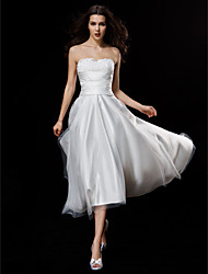 LAN TING BRIDE A-line Wedding Dress Little White Dress Asymmetrical Strapless Satin Tulle with Appliques Ruche