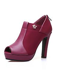Damesschoenen Kunstleer Blokhak Open neus Sandalen/Laarzen Formeel Zwart/Rood