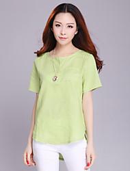 Women's White/Green/Yellow Shirt Short Sleeve