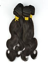 """4pcs lot 10 """"-26"""" naturelles faisceaux de cheveux humains noirs non transformés d'ondes de corps de cheveux humains eurasien"""