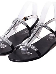 Women's Shoes Flat Heel Open Toe Sandals Dress Black/White