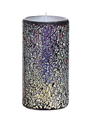 SIMPLUX™ 3*6 Inch Moving Wick Multicolour Mosaic Glass With Flameless LED Candle with Timer,Work with 2xC Batteries