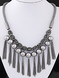 Women's European Style Fashion Metal Shiny Rhinestones Tassel Pearl Necklace