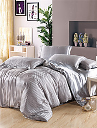 King Size Duvet Set Silver Grey Imitation Silk