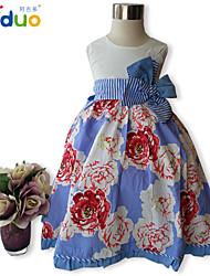 Girl's Kids Floral Print 3D Flower Pageant Little Princess Sleeveless Cotton Casual Dress