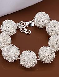 Lovely Generous Women's White Tennis Brass Silver Plated Strand Bracelet(White)(1Pc)