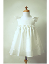 A-line Tea-length Flower Girl Dress - Taffeta Short Sleeve Jewel with