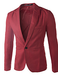 Herren Blazer  -  Einfarbig Normal Lang Baumwolle/Baumwollmischung