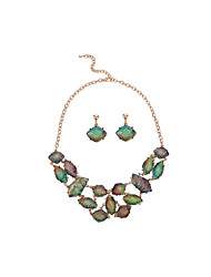 D Exceed Zinc Alloy Gold Plated Resin Jewelry Sets Irregular Geometry Statement Necklace with Earrings for Women