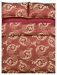 Mingjie Jacquard Brick Red Flowers Bedding Sets 4PCS for Twin Full QueenSize from China Contian 1 Duvet Cover 1 Flatsheet 2 Pillowcases
