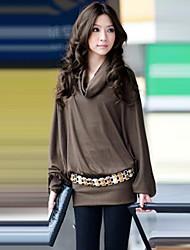 Women's Cowl Long Sleeve T-shirt without Belt