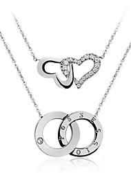 вечная любовь - персик сердца двойной цепи ожерелье ключицы