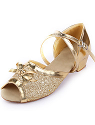Women's/Kids' Dance Shoes Belly/Latin/Dance Sneakers/Flamenco/Samba Leather/Paillette Flat Heel Silver/Gold