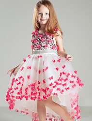 Ball Gown Court Train Flower Girl Dress - Satin Sleeveless Jewel with