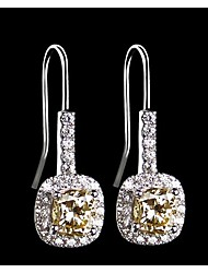 Sterling Silver Cushion Dangle Earrings 1CT/Piece SONA Simulate Golden Diamond Earrings Engagement Women Platinum Plated