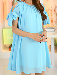 Maternity Fashion Solid Color Strapless Bow Sleeve Dress