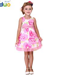 Girl's Kids Flower Print Summer Sleeveless Cotton Lace Princess Pageant Party Dress