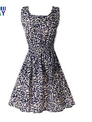 ZAY Women's Elegant Printing Sleeveless Waisted  Casual Dress