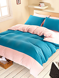 Shuian® Solid Color Bedding Set Fitted Sheet 4pcs Duvet Cover Sets Bedclothes Bed Sheet Pillowcase