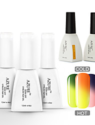 Azure  5 Pcs/Lot Soak-off Color Changing UV Gel Nail Polish  Manicure Varnish(#01+#06+#10+BASE+TOP)