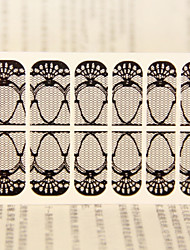 12PCS  Transparent  Black Lace Nail Art Ultrathin Stickers 1#