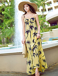 DABUWAWA Women's Beach/Print/Party Straps Sleeveless Dresses (Mesh/Polyester)