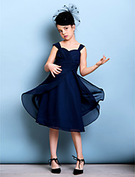 A-Line Straps Knee Length Chiffon Junior Bridesmaid Dress with Sash / Ribbon Criss Cross Ruching by LAN TING BRIDE®