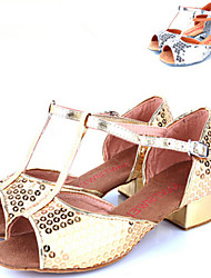 Children's Dance Shoes Sandals Paillette Cuban Heel Silver/Gold