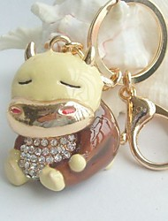 Lovely Cow Key Chain Pendant With Clear Rhinestone Crystals