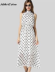 Milaieshow Women's Elegant Chiffon Polka Dots Dress