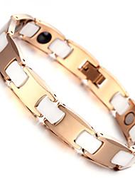 """Mens Tungsten Bracelet, Rose Gold & White, 7.9"""" kb1528"""