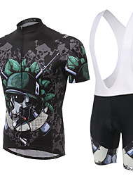 Cycling Jersey with Bib Shorts Men's Short Sleeve BikeBreathable / Moisture Permeability / Reflective Strips / Back Pocket /