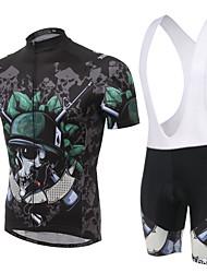 Cycling Jersey with Bib Shorts Men's Short Sleeve BikeBreathable / Moisture Permeability / Reflective Strips / Back Pocket /