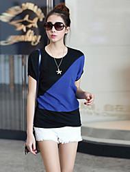 Women's Patchwork Blue/Red/White/Orange T-shirt , Round Neck Short Sleeve