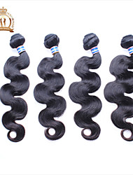 "4Pcs Lot 12-26"" Unprocessed Malaysian Virgin Hair Body Wave Wavy Curly Natural Black Remy Human Hair Weave/Wefts"