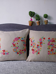 Flower Color LOVE Valentine's Gift Cotton and Linen Hold Pillow Cases Pillows on The Sofa Set of 2 Pieces