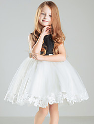 Ball Gown Short / Mini Flower Girl Dress - Satin Sleeveless Jewel with