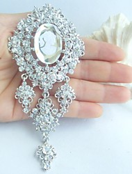 Bridal Accessories Silver-tone Clear Rhinestone Crystal Bridal Brooch Dangling Flower Wedding Brooch Bridal Bouquet