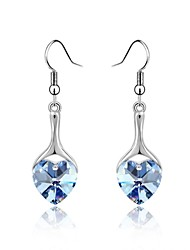 Best Wish Drop Earring Plated with 18K True Platinum Light Sapphire Crystallized Austrian Crystal Stones