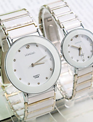 Couple's New Explosion Round Crystal Scale Dial Ceramic Strap Fashion Quartz Watch Cool Watches Unique Watches